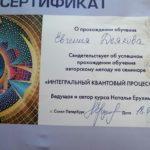 Сертификат участника семинара «Интегральный квантовый процессинг»